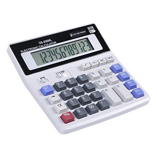 Tischrechner 12-stelliger Standard Taschenrechner mit großem Display Dual-Power Solar und Batterie Rechenmaschine Desktop Calculator mit Großen Tasten Schreibtisch Rechner für Büro Business Schule