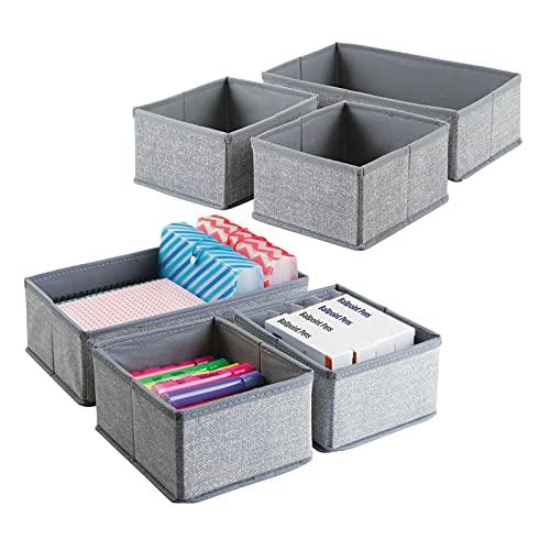 mDesign Juego de 6 cajas organizadoras para oficina – Separadores de cajones de tela para material de oficina, agendas, clips, lápices, etc. – Organizador de escritorio – Color: gris
