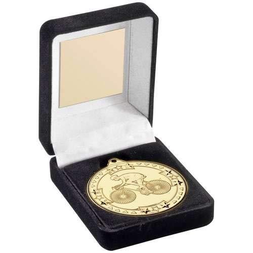 Womack Graphics JR47-TY65A - Scatola Porta medaglie in Velluto Nero e Trofeo da Ciclismo; 9 cm, con Incisione Fino a 50 Lettere
