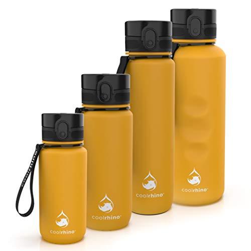 coolrhino Botella de agua de 650 ml para deportes, exterior, escuela, fitness y niños, botella de agua antigoteo y libre de BPA, botella para ácido carbónico (Rhino Sun Yellow, 650 ml)