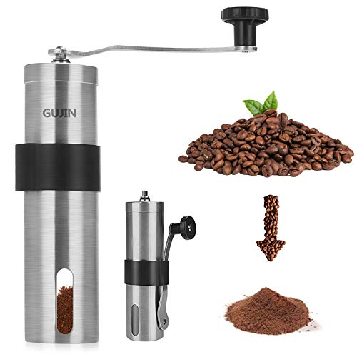 GUJIN Macinacaffè Manuale, Coffee Grinder in Acciaio Inossidabile, Macina Chicchi Manuale Portatile - Facile da Usare e da Pulire - per Chicchi di caffè o Spezie, per la casa, L'Ufficio o Il Campeggio