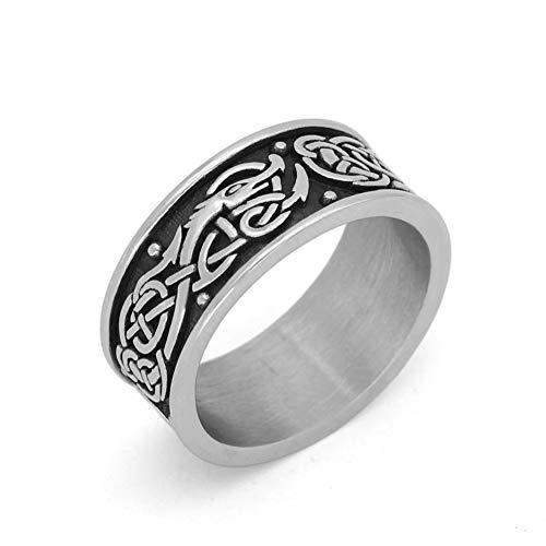 GuoShuang Nordic Viking Amulet drgon dreki Scandinavian Jormungand Pendant Rings Stainless Steel with Valknut Rune Gift Bag