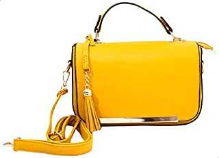 Glitter Faux-Leather Gold Metal Bar Detail Flap Top Handle Bag with Detachable Strap for Women - Yellow