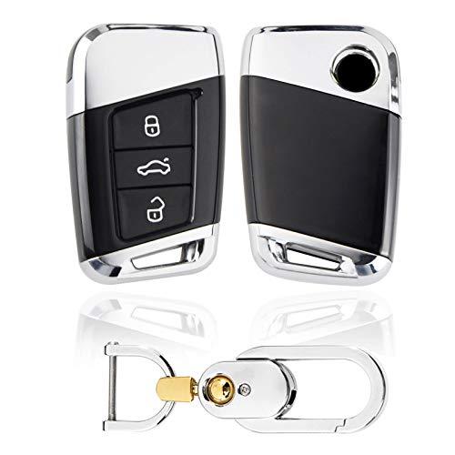 Kwak's Housse de clé de Voiture pour Volkswagen 19 MAGOTAN Passat CC B8 Variant VW Smart Remote ABS Peau clé étui avec Porte-clés(1#Noir)