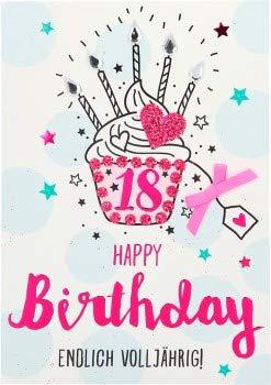 100% glitter verjaardagskaart uitnodigingskaart klapkaart 10496-001: 18 - Happy Birthday eindelijk volledig jaar!