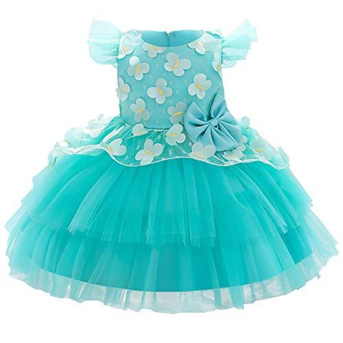 FYMNSI Vestido de fiesta de cumpleaños para niñas pequeñas y niñas, con tutú de flores de mariposa, vestido de princesa de tul con mangas acampanadas, vestido de dama de honor para boda de 1 a 6 años