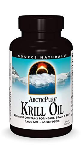 Source Naturals ArcticPure Krill Oil 1000 mcg Premium Omega-3 for Heart, Brain, and PMS - 60 Softgels