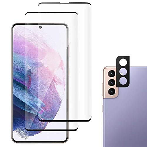 JZ Galaxy S21+ Plus [3+1 Pack] Curved Tempered Glass Screen Protector Film for per Samsung S21+ Plus with [Camera Protector Film][Full Screen Protection][Fingerprint Unlocking][Anti Scratch]