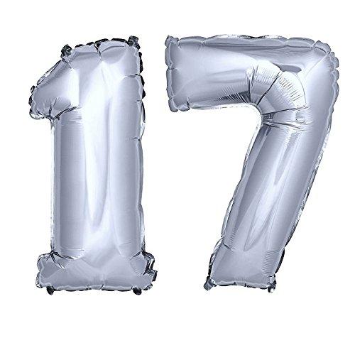 DekoRex® Folienballon Zahlenballon Luftballon Geburtstag Deko 80cm Zahl Silber 17