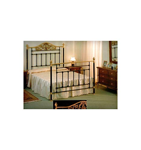 Cabecero de forja y latón Ángeles - Verde carruaje, Envejecido, Cabecero para colchón de 105 cm