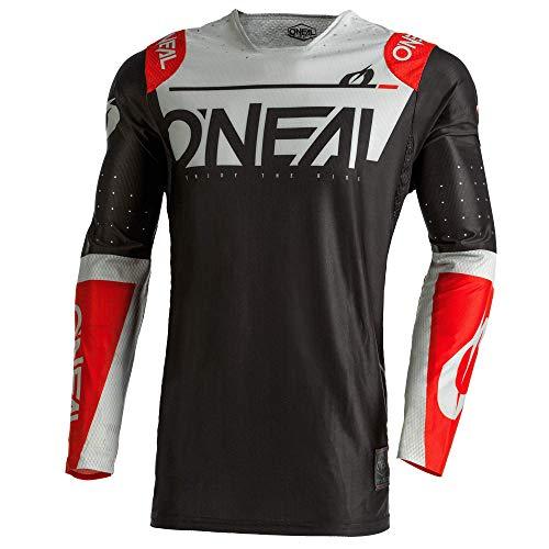 O'NEAL Camiseta de motocross de manga larga de MX MTB, camiseta de ciclismo completa con materiales mejorados y duraderos   Prodigy Jersey Five One   Adultos   negro, gris y rojo negro/gris/rojo. L