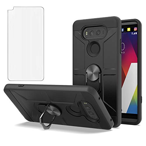 Phone Cases for LG V20 Case LG V20 LG V 20 Case LG V 20 with Tempere LG VS995/LG H990/LS997/LG H910 Case 360 Degree Rotating Ring Kickstand Hybrid Dual Layer Defender Case for LG V20-CH Black