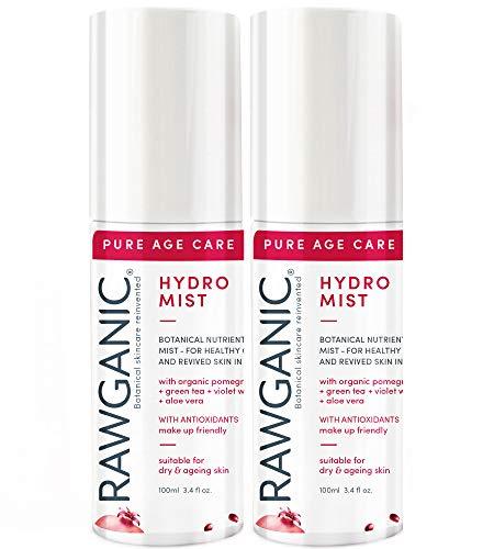 RAWGANIC Anti-aging Hydro Mist | Zachte Revitaliserende en Hydraterende Organische Spray Mist | Met Aloë Vera, Granaatappel, Violet Willow en Groene Thee | Set van 2 x 100ml flessen set of 2