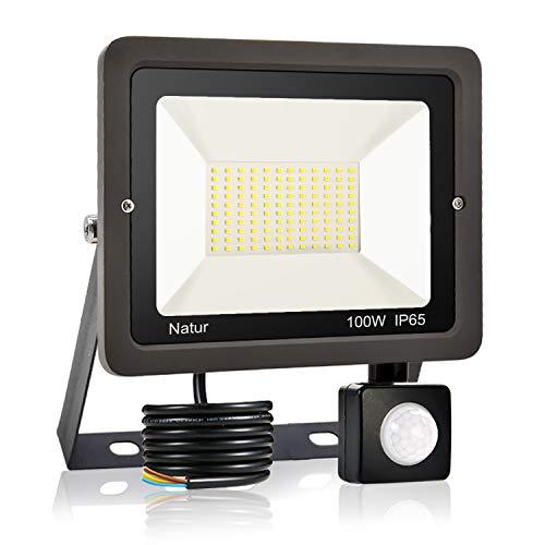 100W Projecteur LED détecteur de mouvement, Blanc Chaud(3000K) spot led exterieur avec detecteur IP65 lampe de sécurité idéal pour éclairage public, garage, couloir, jardin[Classe énergétique A++]