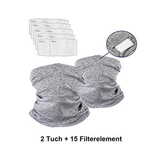 Lumiereholic Gesichtsmas ke Schlauchschal Tuch Halstuch Multifunktion Motorradmas ke Gesichtsschutz Tuch Radfahren mit 15 Filtern Atemschutz