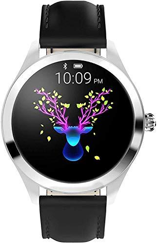 BAIDOLL Smart Watch, Runder Touchscreen IP68 wasserdichte Smartwatch für Frauen, Fitness Tracker mit Herzfrequenz- und Schlaf-Pedometer,Schwarz