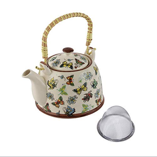 Beautiful Homes Ted Ceramic Coffee Tea Kettle with Steel Strainer Multi Colour with Multi Design