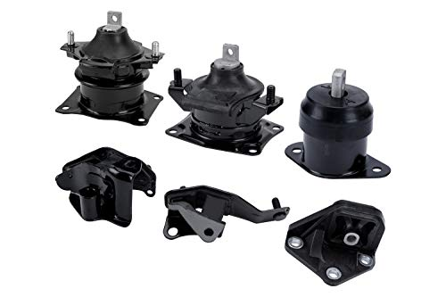 Engine Motor and Transmission Mount Set of 6 - Fits Honda Accord 2003-2007 2.4L Automatic Trans - Replaces A4526HY, A4517, A4516, A4510, A4509, A4542 - Front, Right, Rear, Upper Mounts