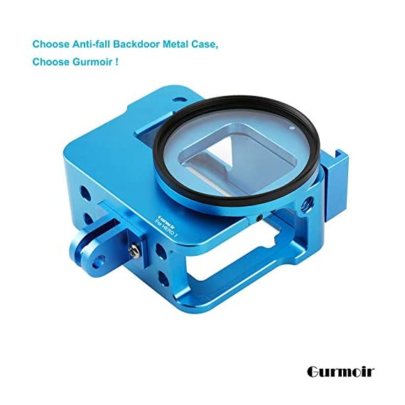 """Gurmoir Case Aluminum Alloy Back Door Housing Frame for Gopro Hero 8 Black Action Camera, Wire connectable Protective… 4 This Aluminum Housing Designed for Gopro Hero 5/Gopro HERO (2018) Action Camera, Blue Make Your Gopro More Unique Your Gopro camera will be more safety during high-velocity sport or daily using. No more worries about the camera will falling out. you can just enjoy your shooting time with 1/4 inch screw hole. the case can compatible with any 1/4"""" tripod. or you can DIY your kit. Sides open allow quick connect of cables. with the Cold Shoe, you can mount a flash, video light, microphone on the top of this case"""
