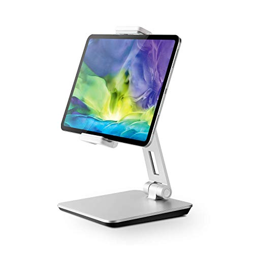 QinCoon Soporte Tablet, Soporte Ajustable de Aluminio de Alta Resistencia, Stand Plegable Giratorio de 360°, Adecuado para iPad, Samsung Tab, Kindle (4,7-13') (Plata)