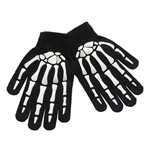 JOYKK Unisex Kinder Vollfinger-Handschuhe Winter Radfahren Halloween Horror Skull Claw Skelett Anti-Rutsch-Gummi-Outdoorhandschuhe Wrist Warmer - Black & White