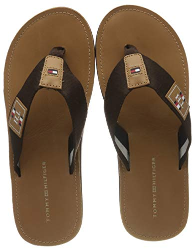 Tommy Hilfiger Herren Elevated TH Leather Beach Peeptoe Sandalen, Braun (Natural Cognac Gtu), 45 EU