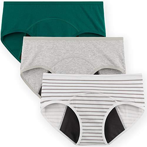 INNERSY Menstruationunterwäsche Damen Period Panties Inkontinenz Unterhosen 3er Pack (M, Grau/Grün/Streifen)