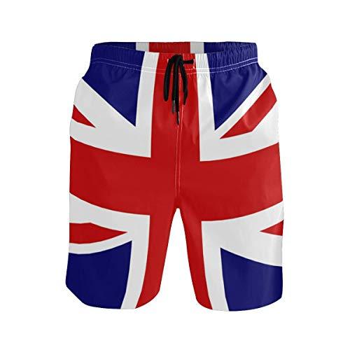 VLOOQ-HX Herren Strand Badehose Union Jack Boxer Badeanzug Unterwäsche Board Shorts mit Tasche