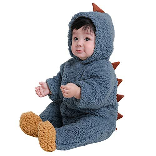 MRULIC Säugling Baby Playsuit Mädchen Jungen Overall Walkanzug Herbst und Winter Langarm Flauschig mit Kapuze Pullover Jumpsuit Outfits Outwear Babysachen(A-Blau,75-80CM)