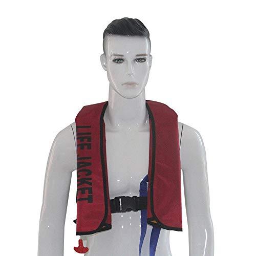 Aufblasbare Schwimmweste, automatisch/manuell aufblasbaren Schwimm-Schwimmweste mit Trillerpfeife, für Bootfahren Angeln Segeln Kajak Surfen Paddeln Schwimmen (ohne Gasflasche),Rot,Automatic