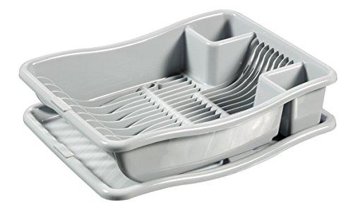 Curver 228565 – Scolapiatti con vassoio per 12 piatti, Plastica, 29 x 10,5 x 39 cm, Grigio