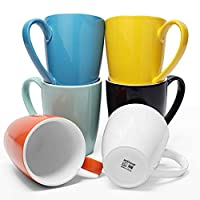 amHomel 磁器コーヒーマグセット 16オンス 紅茶 ココア ラテ ミュルドドリンク用 マルチカラー6個セット ホワイト コールドアソートカラー ホットアソートカラー Mug-16OZ-Hot-6