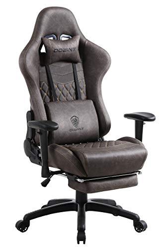 Dowinx Gaming Stuhl Ergonomischer Rennstil mit Massage Lendenwirbelstütze Bürosessel für Computer PU-Leder mit versenkbarer Fußstütze Braun