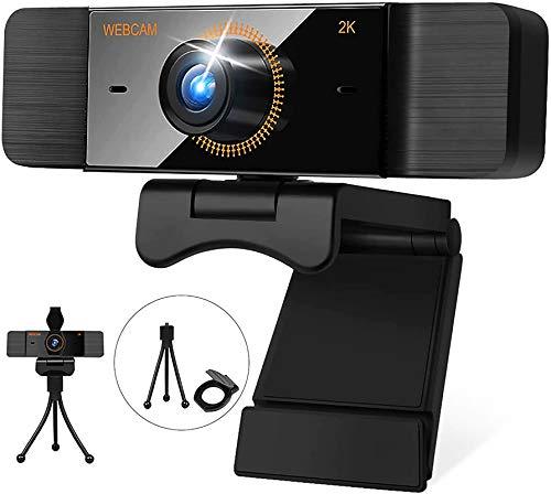 2K HD Webcam mit Mikrofon 1440P Webcam mit Privacy Shutter und Halterung USB Computer Kamera für Videoaufnahme Skype YouTube Zoom Xbox Plug & Play Kompatibel mit Windows 7/8/10/XP/Chrome/Mac OS