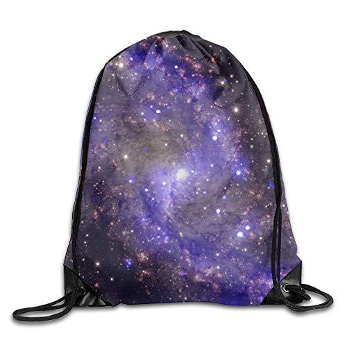 Lsjuee Bolsos con cordón Mochila de Viaje para Gimnasia, Galaxy Purple Blue, Mochilas para Mujer para niños Adolescentes