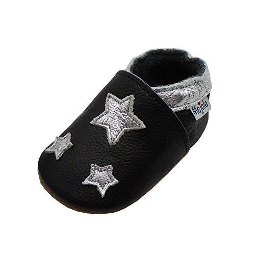 Mejale Cuir Chaussures Bébé Chaussons Bébé Chaussures Enfants Chaussons, Noir, Silver Stars, 6-12 mois (Taille Fabricant: M)