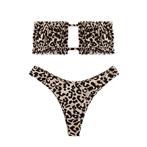 heekpek Conjunto de Bikini para Mujer, Traje de Baño Dos Piezas Conjunto Bañador sin Tirantes, Ropa de Playa de Color Doblez con Cordón Bikini Sets Leopardo Serpentina Sexy