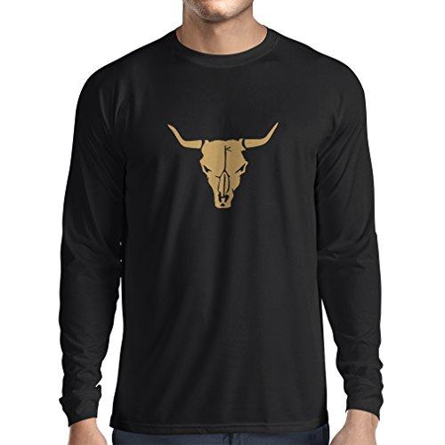 lepni.me Maglietta a Manica Lunga da Uomo Teschio di Toro - Idee Regalo Divertenti per Cacciatori, tiratori, Cowboy (Medium Nero Oro)
