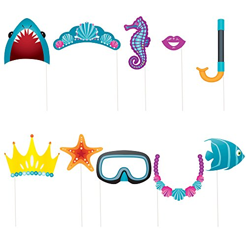 Unique Party- Paquete de 10 accesorios de cabina de fotos Fiesta Bajo el Mar, Multicolor, talla única (61938) , color/modelo surtido