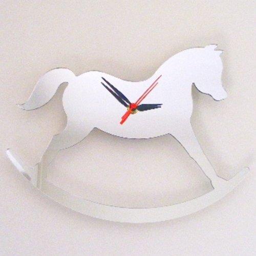 Super Cool Creations 30 X 20 cm Acrylique Rocking-Horse Miroir Horloge, Argent