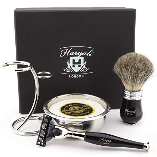 Haryali London 5Pc Heren Scheren Kit 3 Edge Razor met Super Badger Haar Scheerborstel, Standaard, Zeep en Bowl Perfect Gift Set voor Mannen