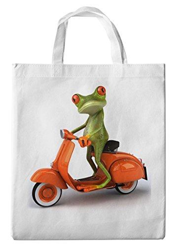 Merchandise for Fans Einkaufstasche- 38x42cm, 8 Liter - Motiv: 3D Comic Frosch auf Einer Vespa - 15