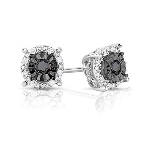 NATALIA DRAKE 1/4 Cttw Round Halo Black Diamond Stud Earrings for Women in Rhodium Plated Sterling Silver (Color I-J / Clarity I2-I3)