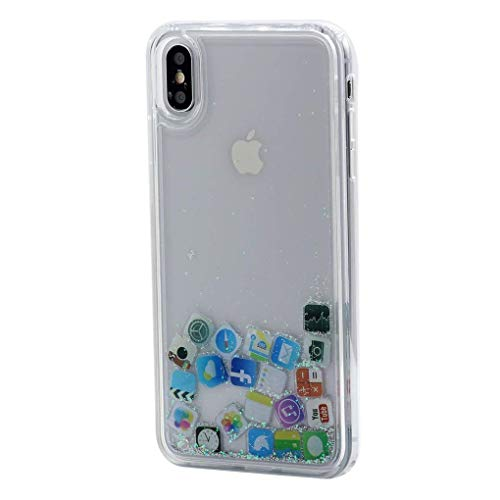 Keyihan iPhone 6 Custodia iPhone 6S Liquido Cover Divertenti Brillantini Glitter Flowing Protettiva Bumper Caso Rigida con Morbido Bordo (Icone di iPhone)