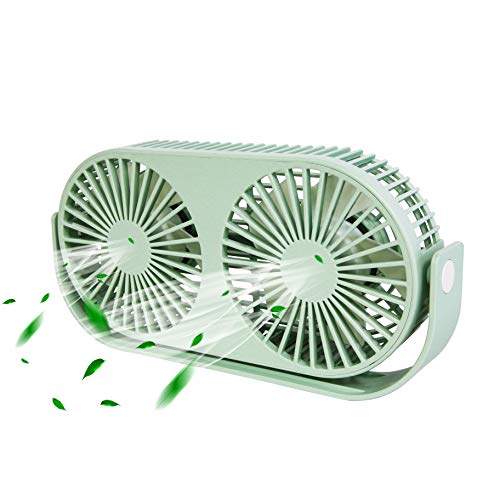 Exclusivo Bolsillo 9.2 Inch 360° Rotatable Personal Dual USB Fan, Quiet and Powerful Desk/Table Fan with Aromatherapy Box, Twin Turbo Blades, 3 Speeds, Portable Mini Fan for Home & Office (Green)