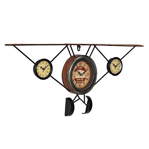 [en.casa] Dekorative Wanduhr alte Flugzeug Front mit analoger Anzeige - 78 x 5 x 32 cm - mehrfarbig...