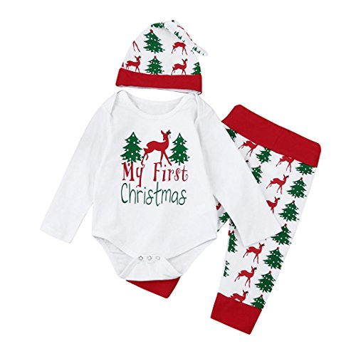Hirolan Weihnachten Baby Strampler Babymützen Neugeboren Kinder Mädchen Jungen Outfits Kleider 3 Stück Spielanzug + Hose + Hut Set Beschriftung'My First Christmas ' (80CM, Weiß)