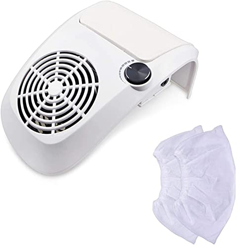 NYZXH Uñas Colector de Polvo Clavo de vacío eléctrico con 2 Bolsas de Recogida de Polvo Transporte de Limpieza de pedicuras de manicura Profesional con Velocidad Ajustable