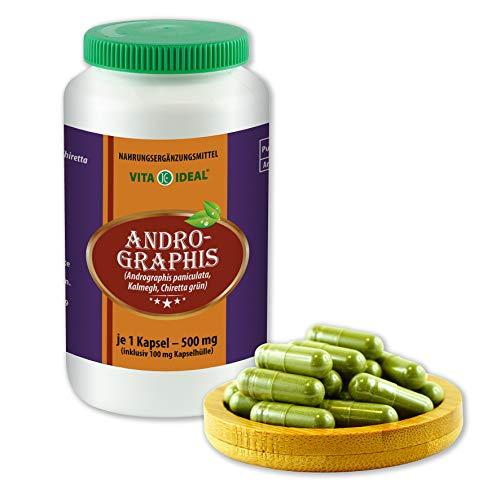 VITAIDEAL ® Andrographis (Kalmegh, Chiretta) 360 Kapseln je 500mg, aus rein natürlichen Kräutern, ohne Zusatzstoffe von NEZ-Diskounter