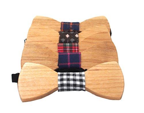 Wookki 5 pièces 100% Handmade Bow Tie Cravate Nœud Papillon Prénoué En Bois Naturel De Travail Mariage Fête Cérémonie Classique Vintage Taille Ajustab